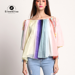 Runway Blouse 2017 Women High Quality Color Striped Blouses Luxury Slash Neck Blouses Top