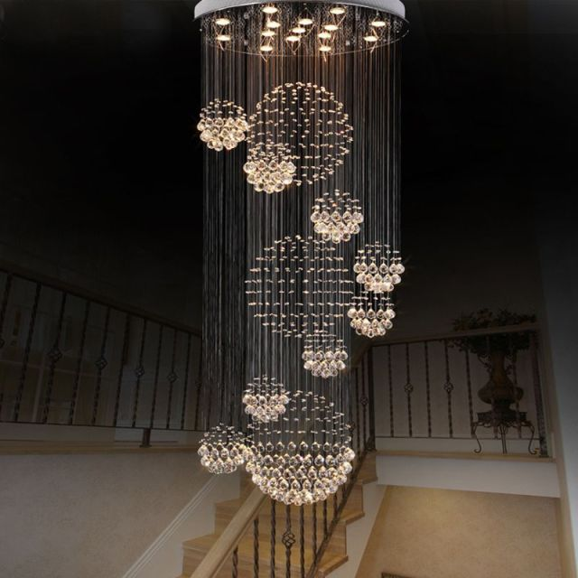 Modern Large Crystal Chandelier Light Fixture Foyer Long Spiral Re Ceiling Led Lamp Hotel