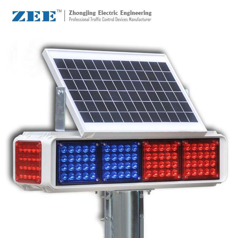 Solar High Flux LED Road Hazard Warning Light Four Side Red & Blue Caution
