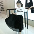 Spring Summer Outfit New Girls Children's Wear Pleated Waist Skirts White Pink Black Kids Clothing