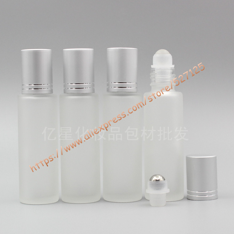 15ml clear frosted glass bottle with glass/stainless roller+matte silver aluminum(line) lid,roll-on/oil/perfume/deodorant bottle glass bottle