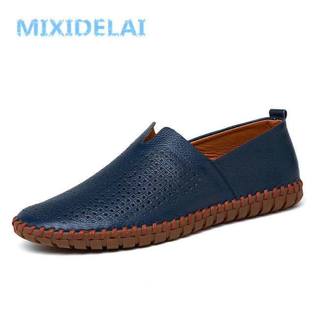 MIXIDELAI Genuine Cow leather Mens Loafers Fashion Handmade Moccasins Soft Leather Blue Slip On Men's Boat Shoe PLUS SIZE 38~48 1