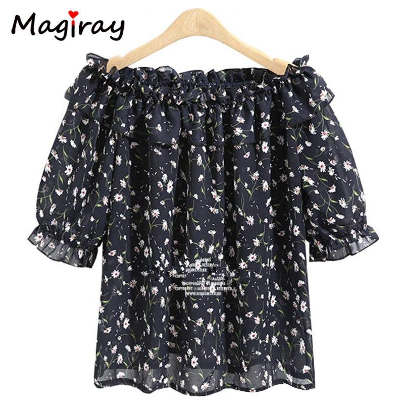 Magiray Plus Size 4XL 5XL Summer Chiffon Blouse Tops Slash Neck Off Shoulder Shirt Women 2018 Floral Ruffle Chemise Femme C28