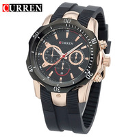 CURREN Mens Wristwatch Top Brand Luxury Silicone Band Man Sports Watches 50m Water Resistance Relogio Masculino