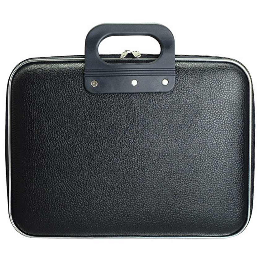 Business Anti Pressure Portable <font><b>Travel</b></font> <font><b>Notebook</b></font> Storage <font><b>Case</b></font> Cover Handbag PU Artificial Leather Hard Carry Pouch 15