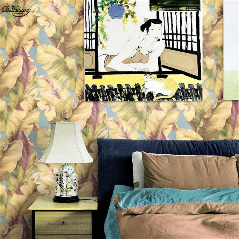 Beibehang haute qualité sud-est asiatique bananier feuille toile de fond Tropical pays personnalité pur papier peint