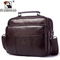 FUZHINIAO Genuine Leather Men Bag Vintage Totes Handbags Brand Fashion Male Messenger Bags Briefcase Men's Travel Shoulder Bags