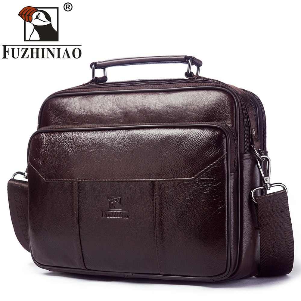 53b8cab9d6f4 FUZHINIAO из натуральной кожи Для мужчин сумка Винтаж сумки Сумки модный бренд  мужской Курьерские сумки Портфели
