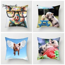 Fuwatacchi Animals Cushion Cover Cute Colorful Pigs Throw Pillow Case For Sofa Bed Home Decor Strawberry Pillowcase 45cm*45cm fuwatacchi home decor cartoon cushion cover cute stick figure couple image pillow cover for car sofa pillowcase 45cm 45cm