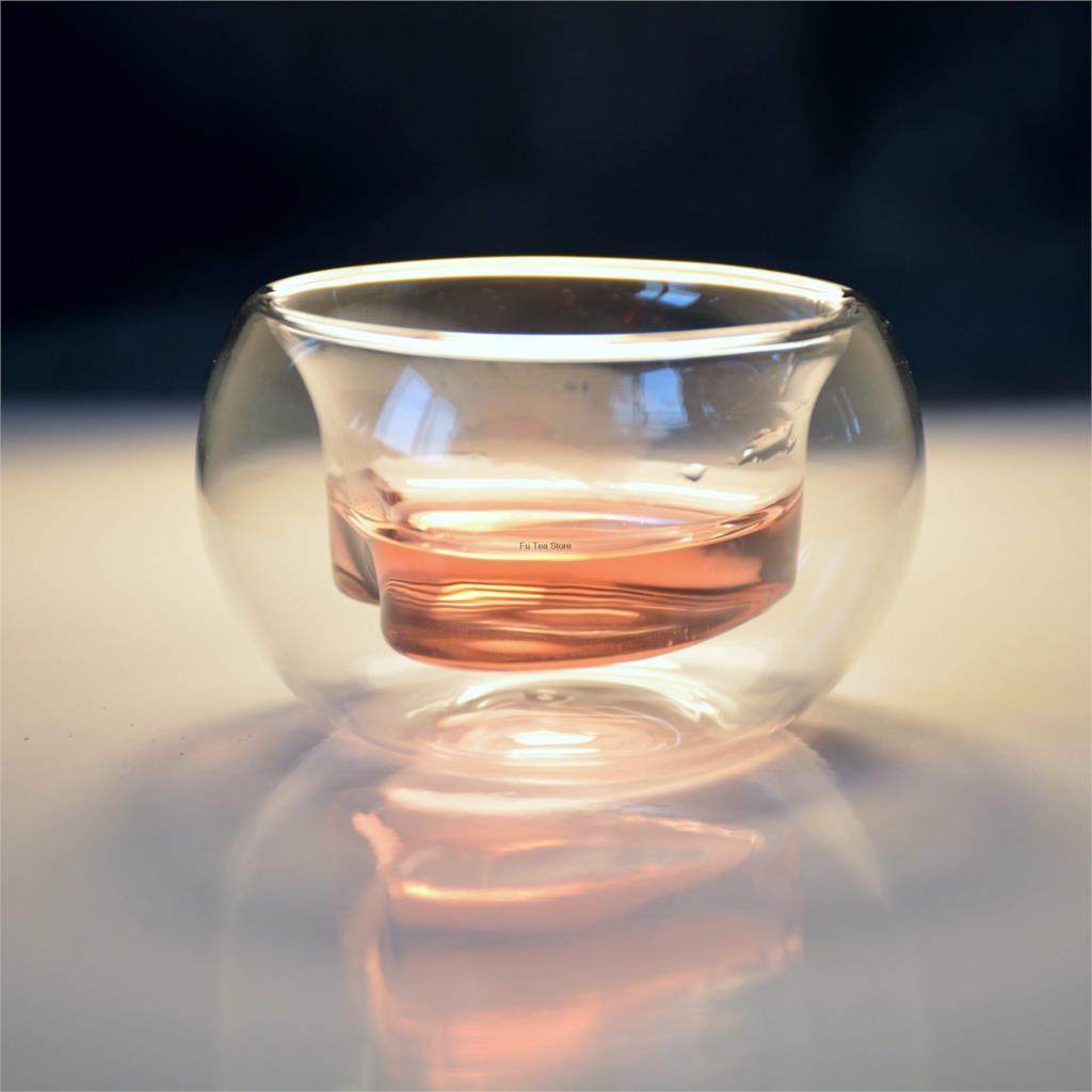 무료 배송 6 개 더블 벽 수제 차 컵 심장 모양의 차 컵 선물 아이템 내열