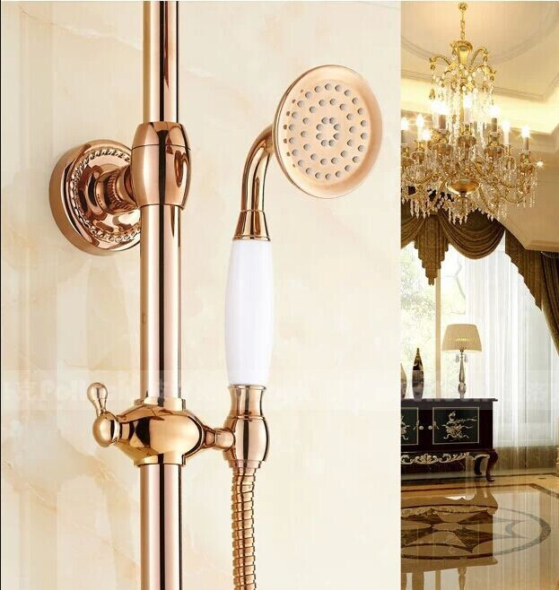 high quality luxurious european style brass ceramic rose gold hand held shower shower head with