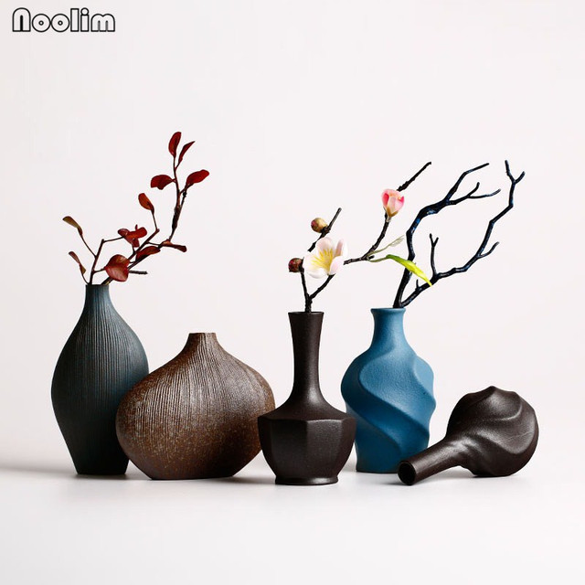Noolim Modern Ceramic Flower Vase Home Decoration Tabletop Zen Chinese Retro Wedding Decor