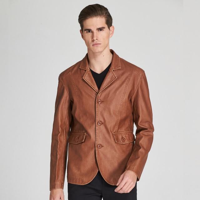 195031f458f Kenntrice Blazer En Cuir Daim Marque-Vêtements Hommes Manteau Casual Blazer  Faux Tissu En Cuir