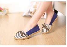 New Arrival Women's Flats  Spring and Summer Flat Heel Shoes Casual Flats for Women Stripe Bowtie Cute Free Shipping