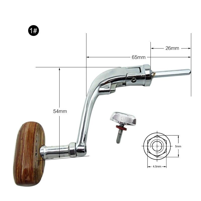 GAOTING Dragonpad Metal Spinning Reel Folding Rocking Arm Wheel Grasp Wooden Rocking Crank Handle Grips Fishing Accessories Use Mode : L