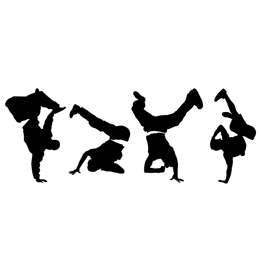 Break Dancers Silhouette Wall Decal Boys Bedroom Home Room Decorations Vinyl Art Stickers Dance Studio Wall Decor Poster <font><b>D518</b></font> image