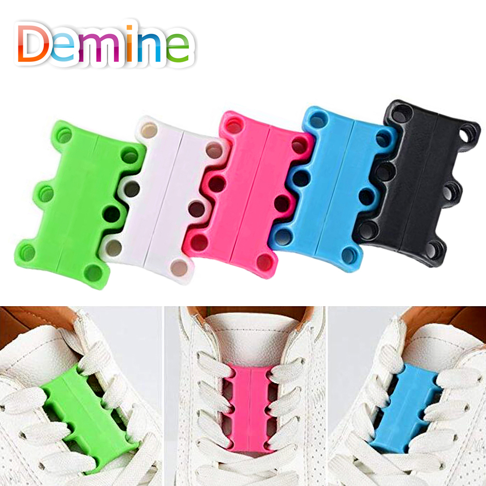 Demine Shoe Laces Magnetic Shoelace Buckle Lazy Closures Lacet Chaussure Shoe Laces No Tie lazy Shoe Laces Sneaker Shoe Buckle semi circle multicolour shoelace two tones cavans shoe laces elastic men s shoes lacet 110cm length 10 pairs on sale