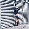 2016 женская Европейский горячая цвет марля колющими тонкий брюки дышащий спортивные Леггинсы мода Черный и белый досуг брюки