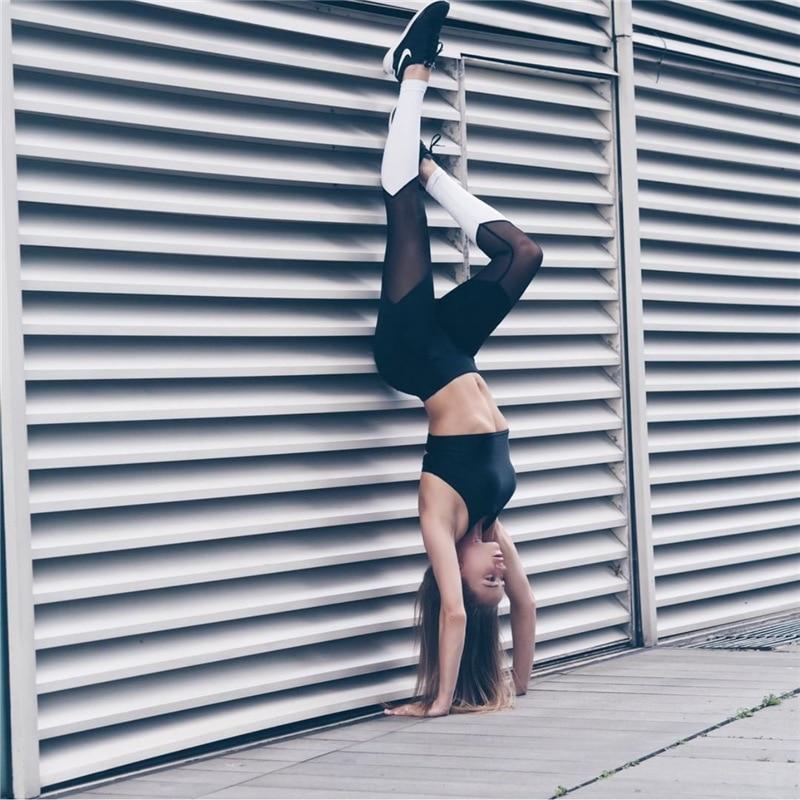 2018 Europeo de Mujeres Rejilla Costura Delgado Pantalones Deportivos Transpirable Leggings Moda Negro blanco Patchwork Gimnasio Legging W