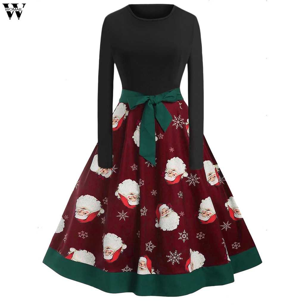 d8a5f2751db11 Winter Christmas Dresses Women Vintage Robe Swing Pinup Elegant Party Dress  Long Sleeve Casual Plus Size