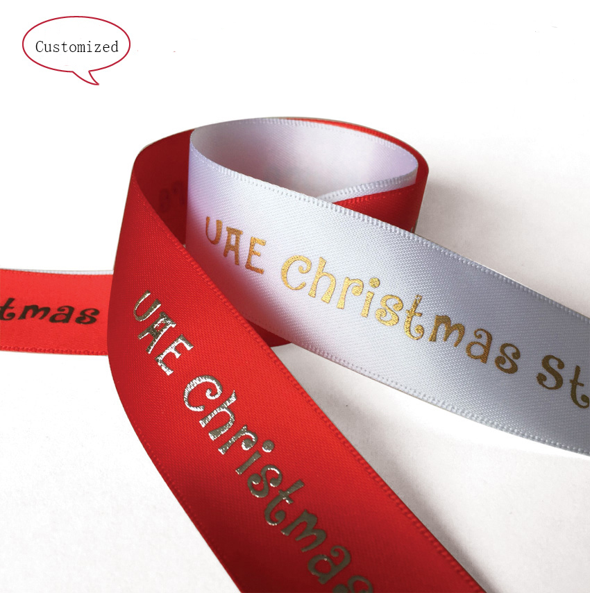Free shipping  High Quality 1cm Customzied  Christmas ribbon decoration for gift  personal  packing ribbon for Chiristmas gifts
