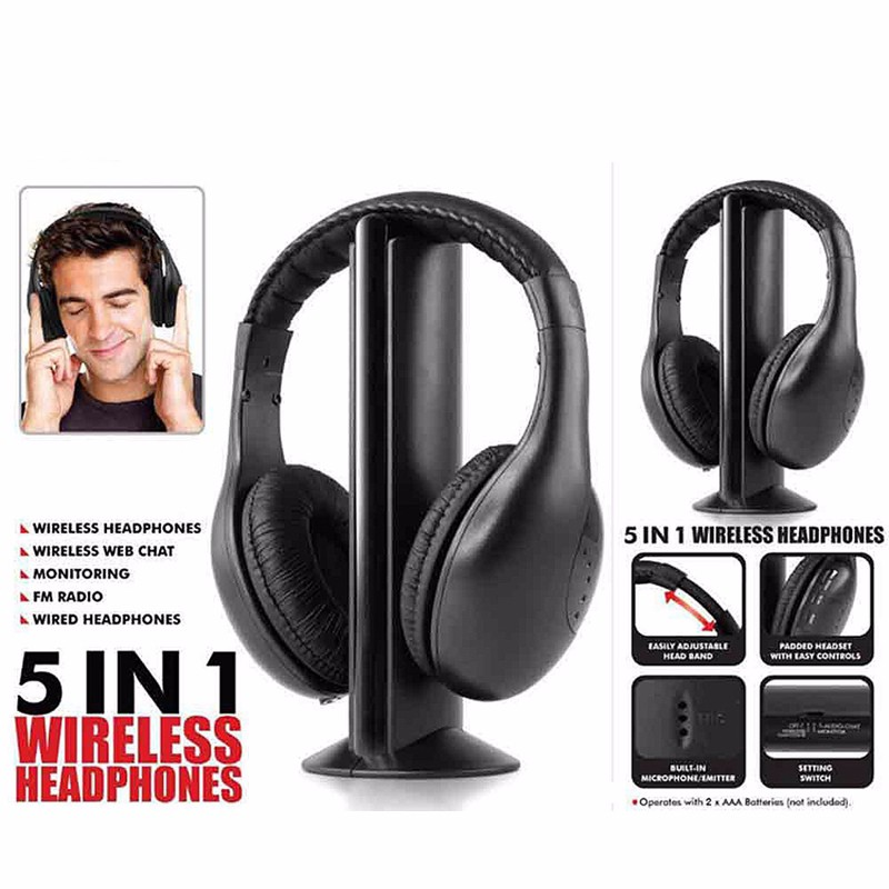 5in1 Wireless Audio-chat Headphone HiFi Monitor Headset FM Radio Earphones With MIC For PC TV DVD Audio Mobile Home Outdoor MP3 (6)