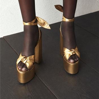 2019 Runway Design Bowknot Thick Heels Sandals Fashion Gold Lace up High Heels Platform Shoes Woman Dress Summer Women's Sandals