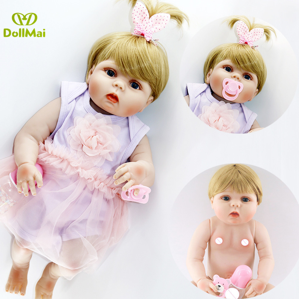 Silicone reborn baby dolls blond girl Bebes reborn corpo de silicone inteiro 2357cm child gift toy doll babies alive bonecaSilicone reborn baby dolls blond girl Bebes reborn corpo de silicone inteiro 2357cm child gift toy doll babies alive boneca