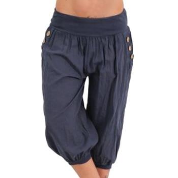 CALOFE Plus Size Women Pants Half Short Capris 2019 Casual Bottoms Elastic Vintage Fat MM Loose Trousers Brand New Harem Pant 1
