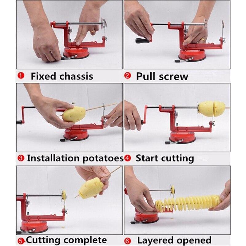 Картофель твист слайсер из нержавеющей стали кухонные аксессуары спиральный чип слайсер ручной резки красный металл