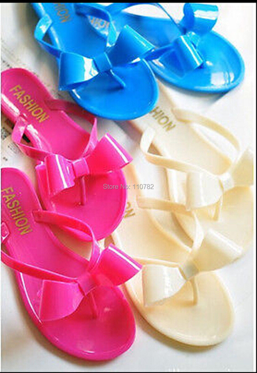 078e6455d45c 2014 Designer Summer Ribbon Bow Jelly Soft Plastic Sandals Flats Thongs  Shoes