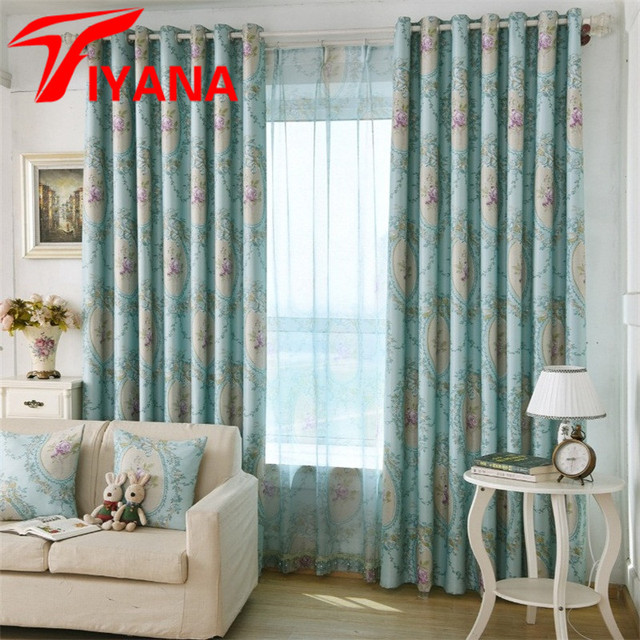 American Rustic Style Quality Elegant Floral Printed Curtains For Living  Room Bedroom Kitchen Curtains Cloth Drapes