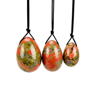 Yoni Egg Drilled Body Massager Natural Unakite Stone Jade Eggs Carved Wa Ben Ball For Women