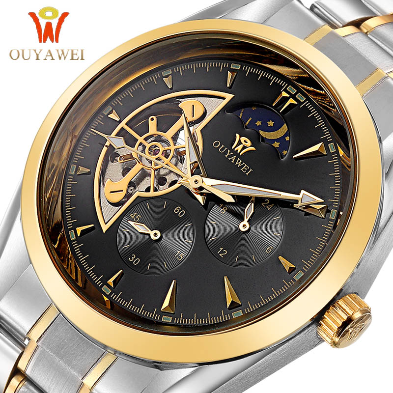 OUYAWEI GOLD Mechanical Wrist Mens Watch Top Brand Luxury Automatic Clock Men 22mm Stainless Steel  Skeleton Reloj Hombre am 272 1300 centigrade blue flame windfroof butane jet torch lighter w keychain black silver