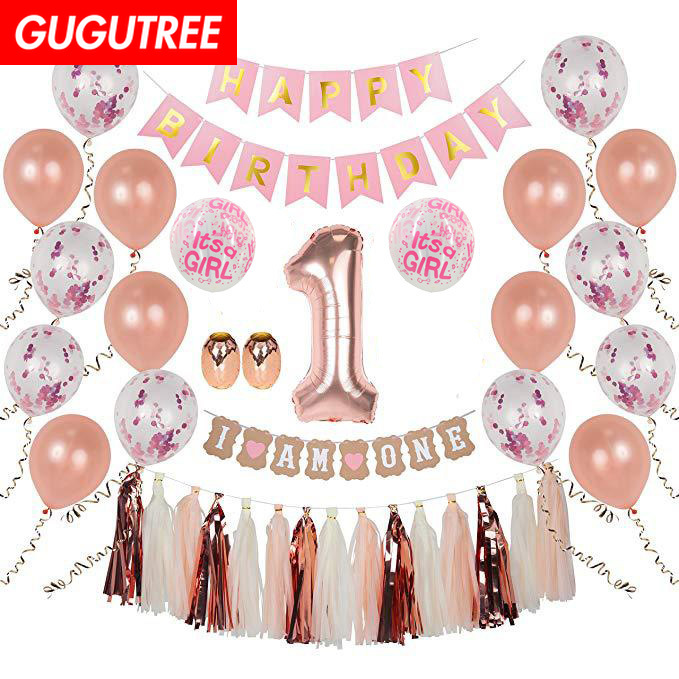 1 year old happy birthday balloons for party Decoration foil balloons Banners Paper tassels Streamers decoration in Party DIY Decorations from Home Garden