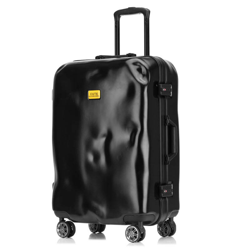 LeTrend Retro Creative Aluminum Frame Rolling Luggage Spinner Women Suitcase Wheels 20 inch men Black Cabin