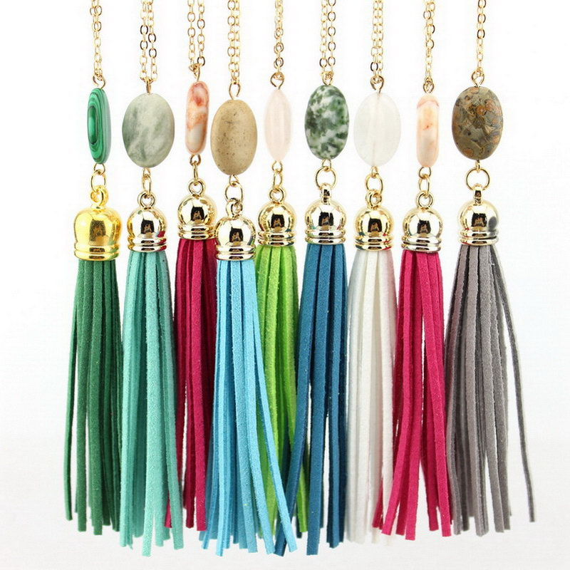 Cabochon Natural Stone Tassel Necklace Fashion Jewelry Long Chain Leather Velvet Tassel Pendant Necklace Accessories Wholesale