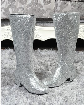 Hot Selling Cheap Silver Glitter Runway Fashion Thick Heels Woman Boots designer woman motorcycle boots
