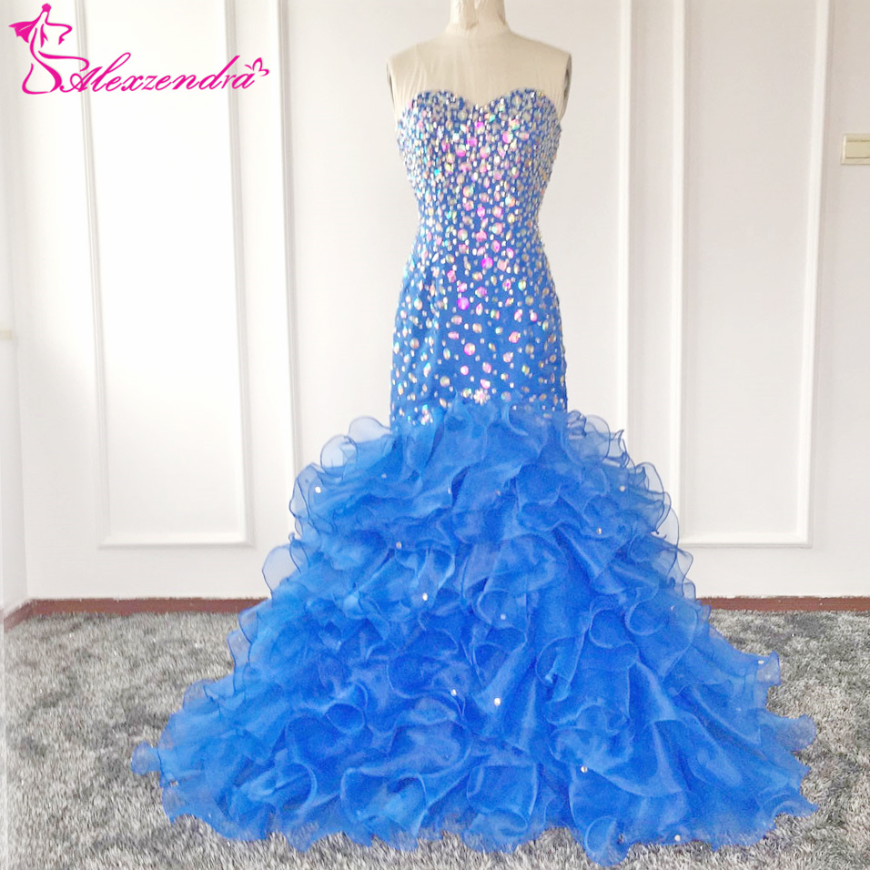 Alexzendra Crystals Blue Mermaid   Prom     Dresses   Sweetheart Rhinestone Colorful Beads Evening   Dresses   Plus Size Party Women Gown
