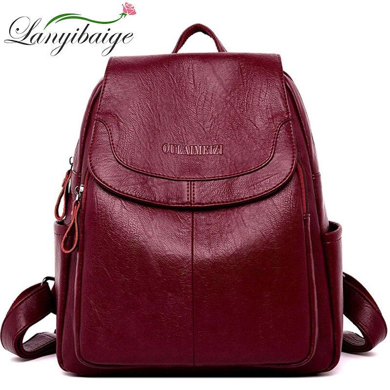 LANYIBAIGE Women Leather Backpacks Female Shoulder Bag Ladies Bagpack Vintage School Bags For Girls Travel Back Pack Sac A Dos