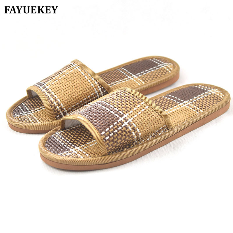FAYUEKEY New Summer Cool Thick House Bamboo Leisure Unisex Slippers Home Indoor Floor Non-slip Linen Cane Slides Flat Shoes fayuekey 18 new fashion summer home linen cane breathable bowknot slippers women indoor floor beach girls slippers slides shoes