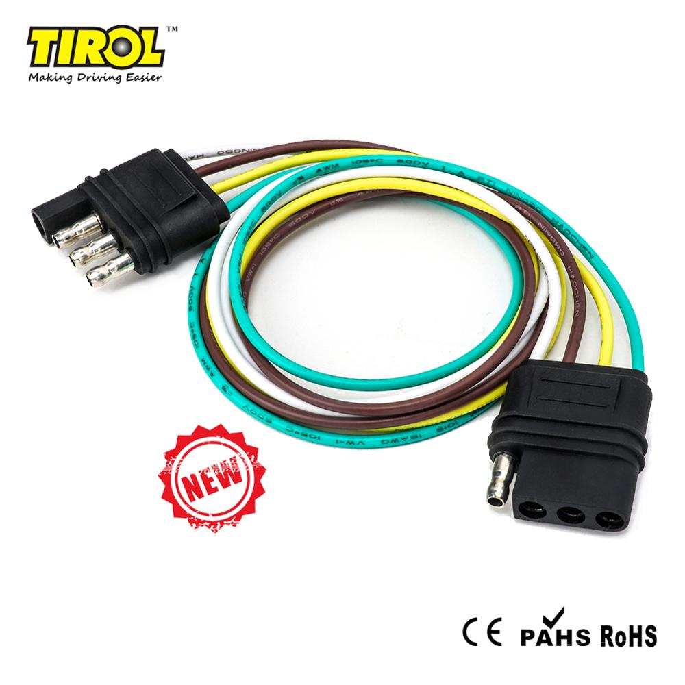Tirol 4 Pin Flat Trailer Cable Set Trailer Light Plug 4*18 AWG Wire Harness Connector For Caravan Auto Adapters Sockets T24696a