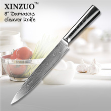 XINZUO NEWEST Japanese VG10 Damascus steel 8″ kitchen cleaver knives slicing/Carving knife with Forged G10 handle FREE SHIPPING