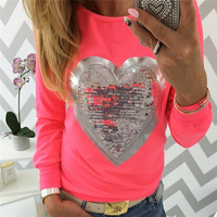 Women T Shirt Long Sleeve O Neck Love Appliques Autumn Womens Solid Top Casual Party Club Shirts Plus Size Women Tops Tees