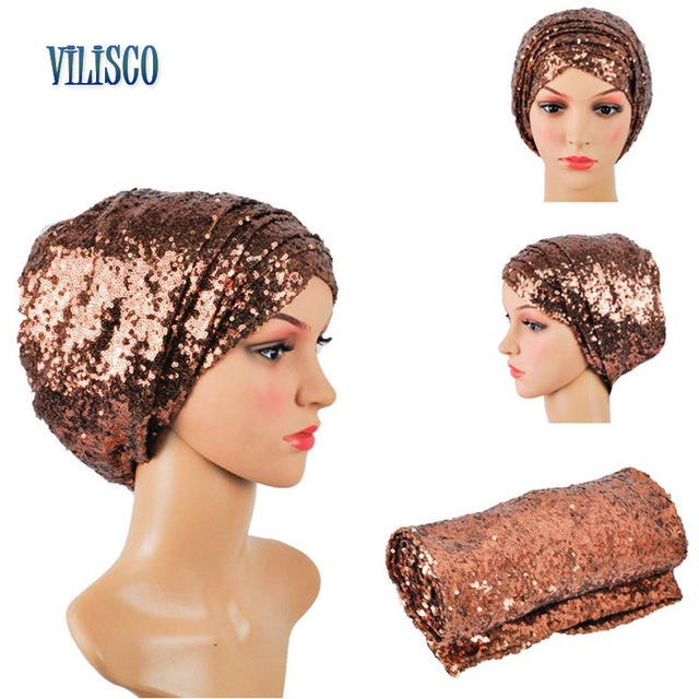 Multi-colored Headwear Sequin Turban African Headwrap African Headties Sego Gele Head Tie for Women Party Winter Headscarf XH05 4