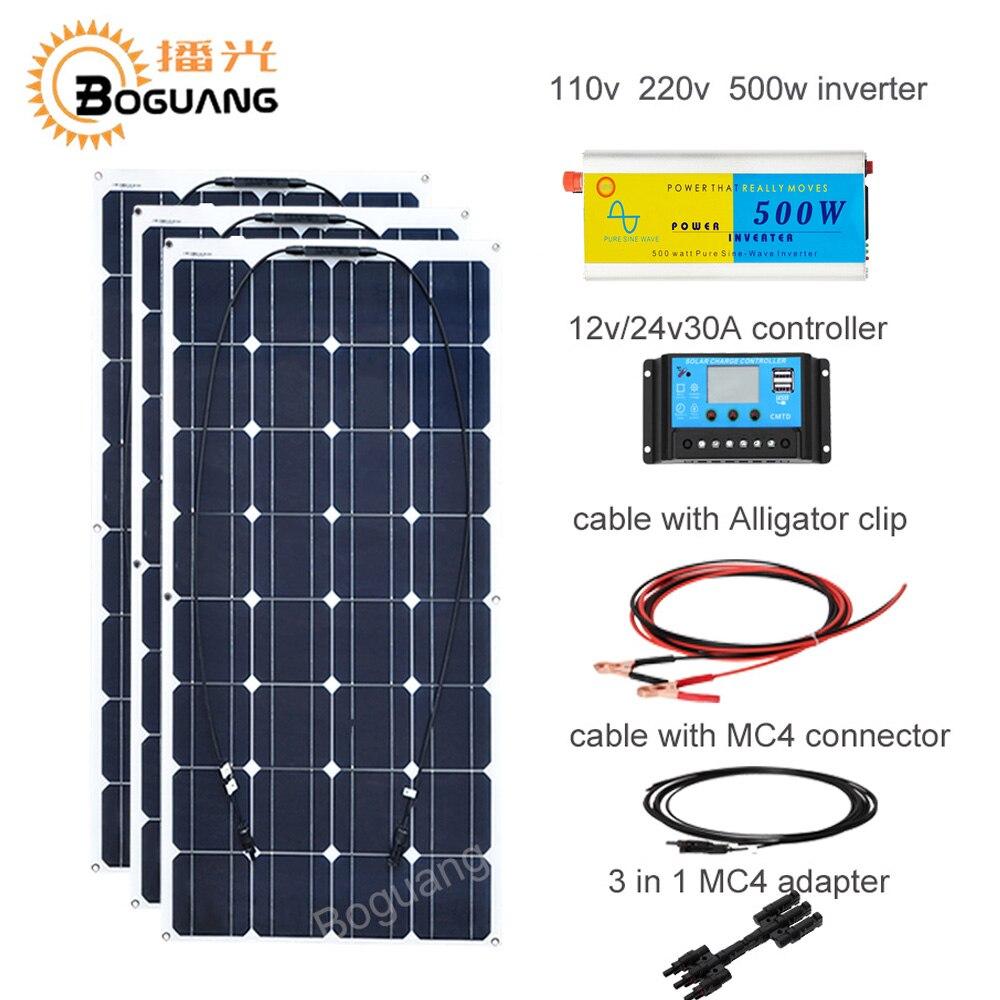 Boguang 300 w panneau solaire (3*100 W) + 30A contrôleur + 110 v 220 v 500 w onduleur hors réseau 12 volts système de batterie 300 watt