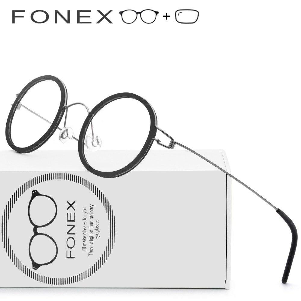 Безвинтовое очки, очки Титан ацетат очки 2018 Новый Для мужчин Круглый Близорукость Оптические Frame Дании корейский Для женщин