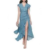 Summer Dress 2018 Women Sexy Deep V Neck white Flower Print Dresses Hem Folds Bohemian Style belt Long Ruffle Beach Dress