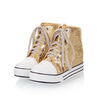 New Sweet Gold Silver Women Shoes Vulcanize Shoes Sneakers Wedges Med Heels Bling Sequined Cloth Cotton Fabric Lace up Size34 45
