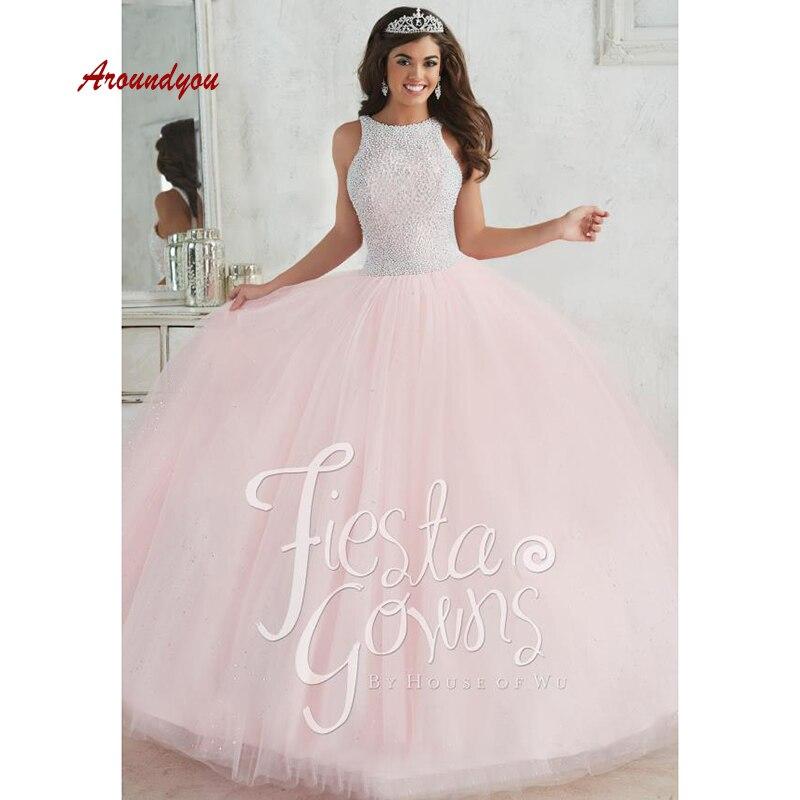 0c3e98d082d ... 16 vestidos de 15 anos. Cheap Vestidos de quinceañera rosa de lujo  vestido de baile de tul fiesta de graduación dulce